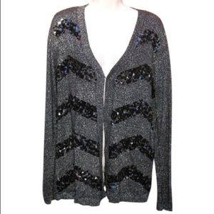NEW Dana Buchman Black Sequined Cardigan sweater